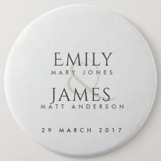 SIMPLE ELEGANT WHITE TYPOGRAPHY WEDDING TEXT ONLY 6 INCH ROUND BUTTON
