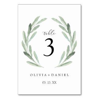 Simple Elegant Wreath Greenery Wedding Table Card