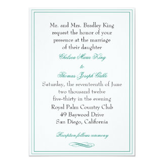 Simple Emerald Green Wedding Invitation