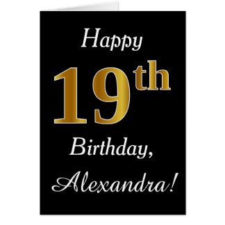 Simple Faux Gold 19th Birthday + Custom Name Card