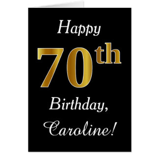 Simple Faux Gold 70th Birthday + Custom Name Card