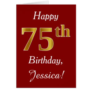 Simple Faux Gold 75th Birthday + Custom Name Card