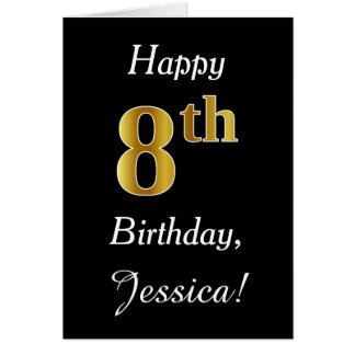 Simple Faux Gold 8th Birthday + Custom Name Card