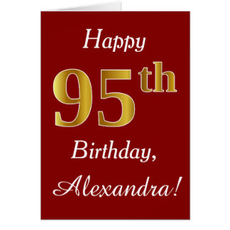 Simple Faux Gold 95th Birthday + Custom Name Card