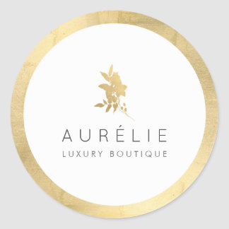Simple Faux Gold Floral Luxury Boutique Classic Round Sticker