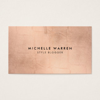 Simple Faux Rose Gold Blogger, Writer Business Card