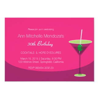 Simple Feminine Chic Pink Cocktail Party Card