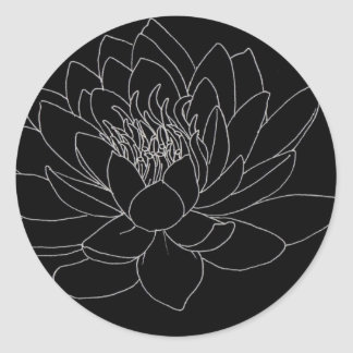 Simple Floral - Beutiful Lotus Classic Round Sticker