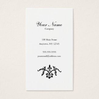 Simple Floral Black & White Business Card Portrait