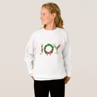 Simple floral Christmas wreath joy fancy script Sweatshirt