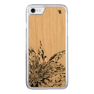 Simple Floral Design on wood back Carved iPhone 8/7 Case