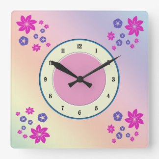 Simple floral mix with color harmony wallclocks