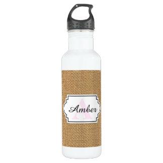 Simple floral rustic burlap texture 710 ml water bottle