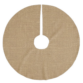 Simple floral rustic burlap texture brushed polyester tree skirt
