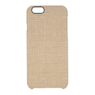 Simple floral rustic burlap texture clear iPhone 6/6S case