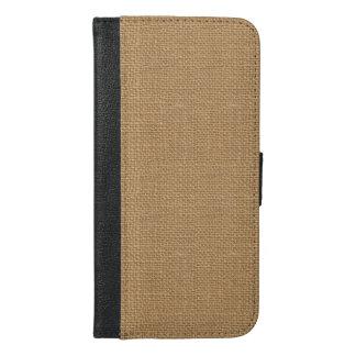 Simple floral rustic burlap texture iPhone 6/6s plus wallet case