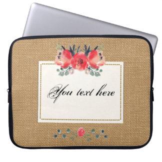 Simple floral rustic burlap texture laptop sleeve