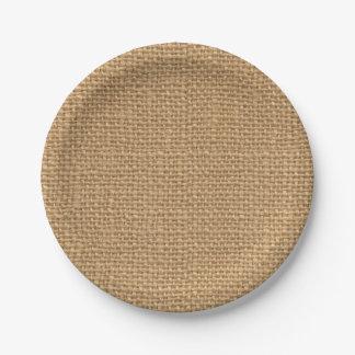 Simple floral rustic burlap texture paper plate