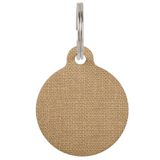 Simple floral rustic burlap texture pet tag