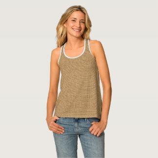 Simple floral rustic burlap texture tank top