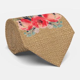 Simple floral rustic burlap texture tie