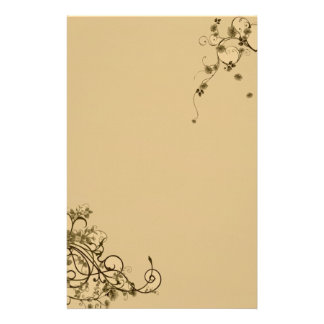 Simple Floral Swirl Stationery