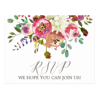 Simple Floral Watercolor Bouquet Menu Choice RSVP Postcard