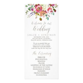 Simple Floral Watercolor Bouquet Wedding Program Rack Card Template