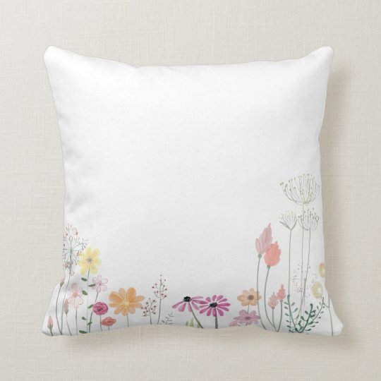 Simple Floral Watercolor Throw Pillow