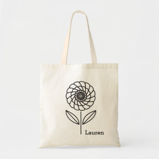 Simple Flower Custom Personalized Art Tote Bag