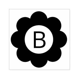Simple Flower Monogram Rubber Stamp