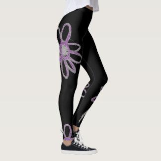 Simple Flower purple and grey Leggings