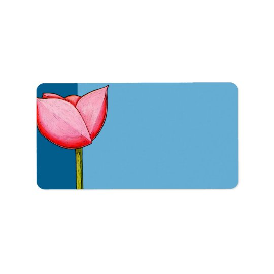 Simple Flowers blue Address Label