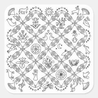 Simple Folk - Sarah Fielke Block of the Month 2018 Square Sticker