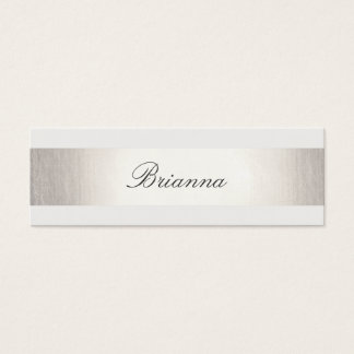 Simple Formal Wedding Consultant Silver Striped Mini Business Card