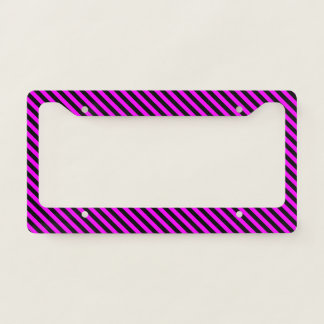 Simple Fuchsia & Black Stripes Pattern License Plate Frame
