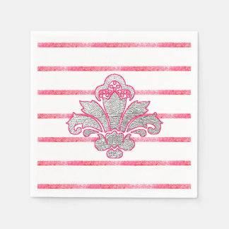 Simple Fx Silver Damask Pink Paper Napkins