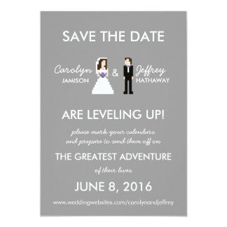 """Simple, Geeky 8-Bit Save the Date 5"""" X 7"""" Invitation Card"""