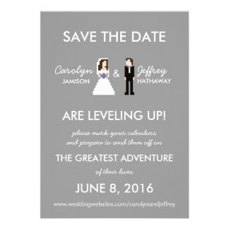 Simple Geeky 8-Bit Save the Date Invitation