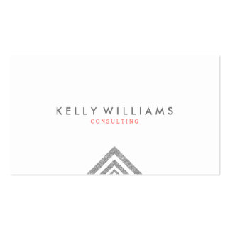 Simple Geometric Silver Glitter White Background Business Card