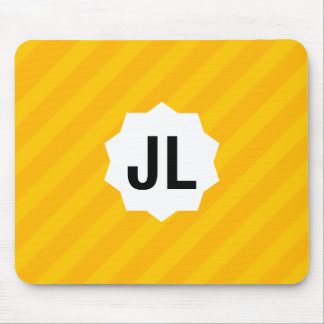 Simple Geometric Yellow Stripe w/ custom Monogram Mouse Pad