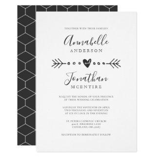 Simple Geometry Heart and Arrow Dark Gray Wedding Card