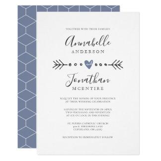 Simple Geometry Heart and Arrow Dusty Blue Wedding Card