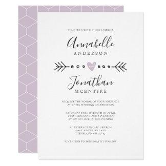 Simple Geometry Heart and Arrow Lilac Wedding Card