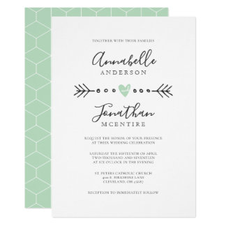 Simple Geometry Heart and Arrow Mint Green Wedding Card