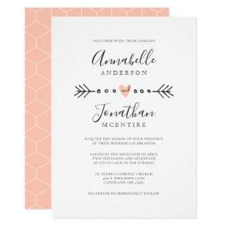 Simple Geometry Heart and Arrow Peach Wedding Card