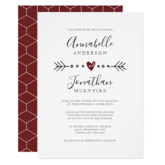 Simple Geometry Heart and Arrow Red Wine Wedding Card