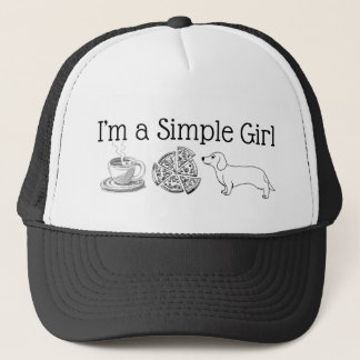 Simple Girl - Coffee, pizza & Dog Trucker Hat