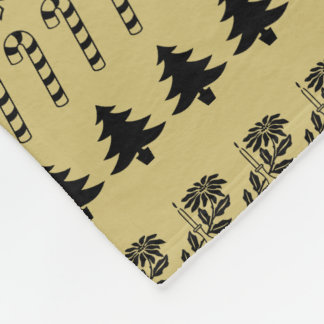 Simple Gold and Black Rows Christmas Pattern (L) Fleece Blanket