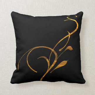 Simple Gold Black Scroll American MoJo Pillows